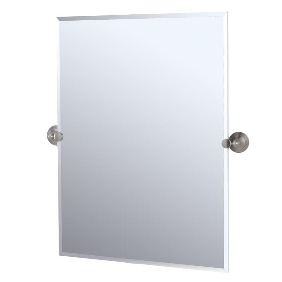 Gatco Charlotte 23.5-in W x 31.5-in H Rectangular Tilting Frameless Bathroom Mirror with Satin Nickel Hardware and Beveled Edges