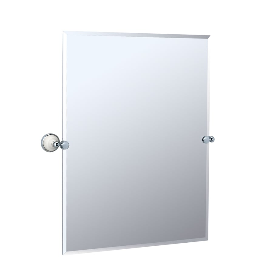 Gatco Franciscan 28-in W x 31.5-in H Rectangular Tilting Frameless Bathroom Mirror with Chrome Hardware and Beveled Edges