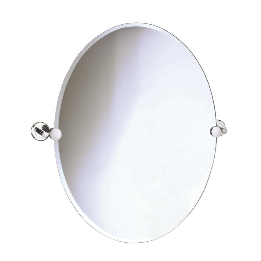 Gatco Laurel Avenue 19.5-in W x 26.5-in H Oval Tilting Frameless Bathroom Mirror with Polished Nickel Hardware and Beveled Edges