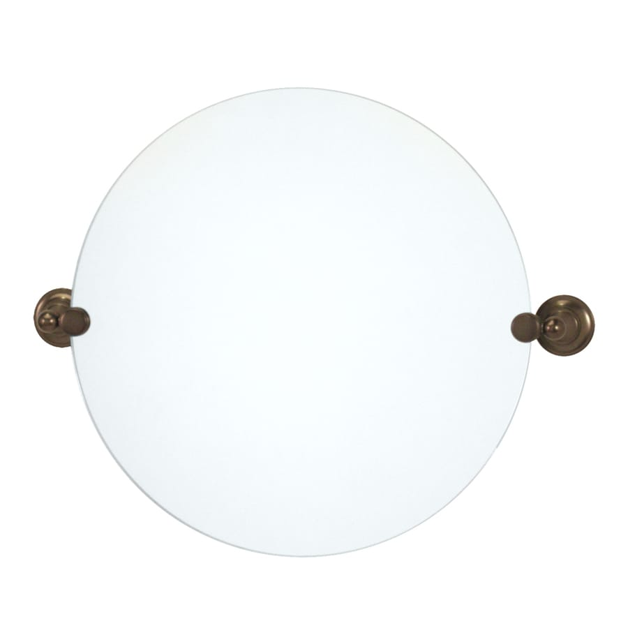 Gatco Tiara 19.5-in W x 19.5-in H Round Tilting Frameless Bathroom Mirror with Bronze Hardware and Polished Edges