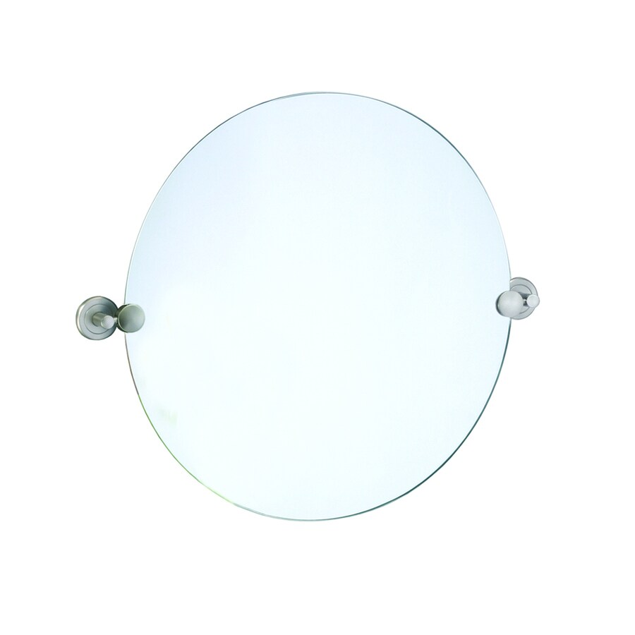 Gatco Latitude 2 19.5-in W x 19.5-in H Round Tilting Frameless Bathroom Mirror with Satin Nickel Hardware and Polished Edges