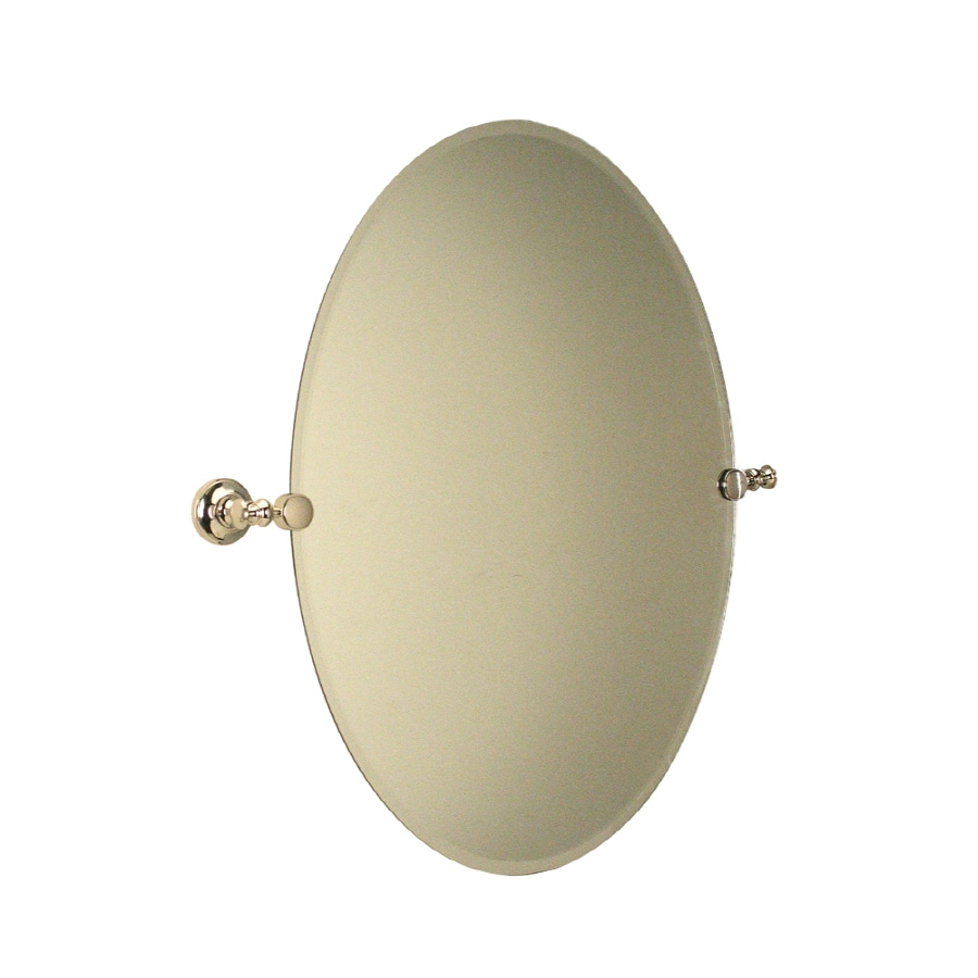 allen + roth Andrews 19.5-in W x 26.5-in H Oval Tilting Frameless Bathroom Mirror with Polished Nickel Hardware and Beveled Edges