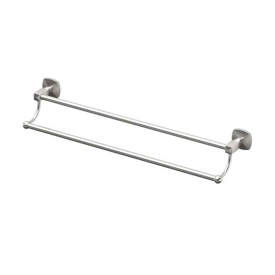 Gatco Jewel Satin Nickel Double Towel Bar (Common: 24-in Double; Actual: 25.75-in)