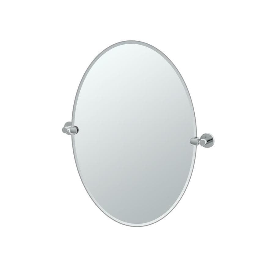 Gatco Channel 19.5-in W x 26.5-in H Oval Tilting Frameless Bathroom Mirror with Chrome Hardware and Beveled Edges