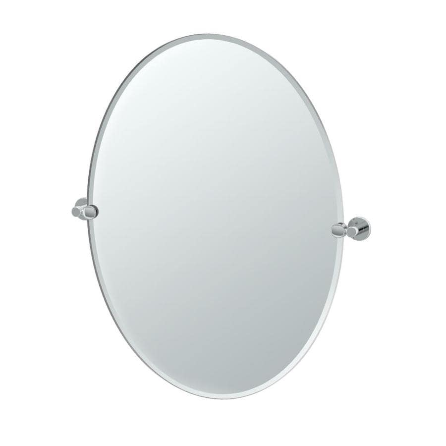 Gatco Channel 24-in W x 32-in H Oval Tilting Frameless Bathroom Mirror with Chrome Hardware and Beveled Edges