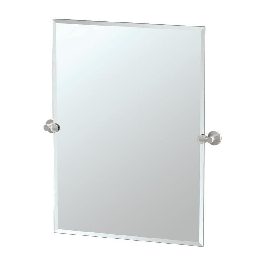 Gatco Channel 23.5-in W x 31.5-in H Rectangular Tilting Frameless Bathroom Mirror with Satin Nickel Hardware and Beveled Edges