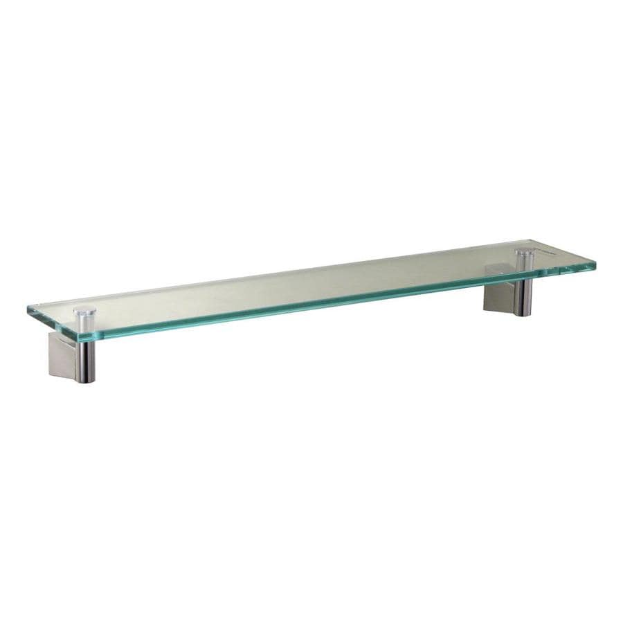 Shop gatco bleu chrome glass bathroom shelf at for Bathroom glass shelves
