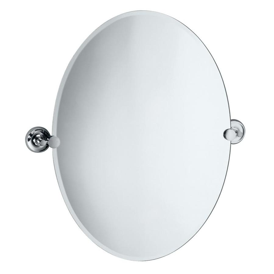 Gatco 26-1/2-in H x 19-1/2-in W Tiara Oval Frameless Bath Mirror with Beveled Edges
