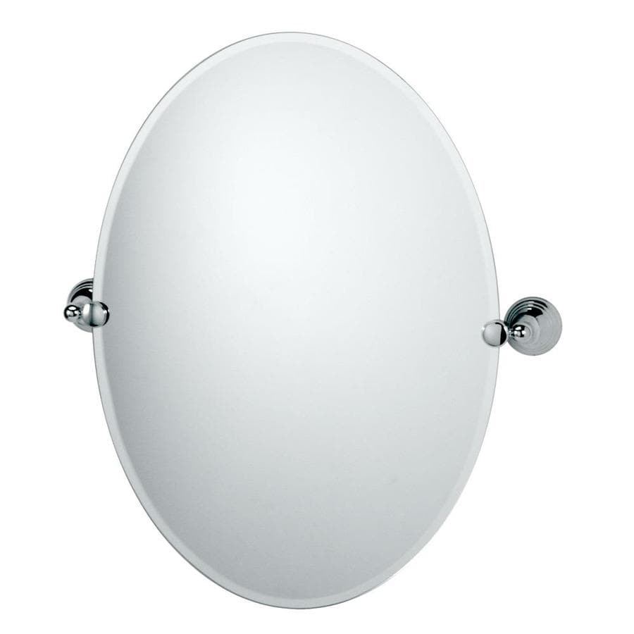 Gatco Charlotte 19.5-in W x 26.5-in H Oval Tilting Frameless Bathroom Mirror with Chrome Hardware and Beveled Edges
