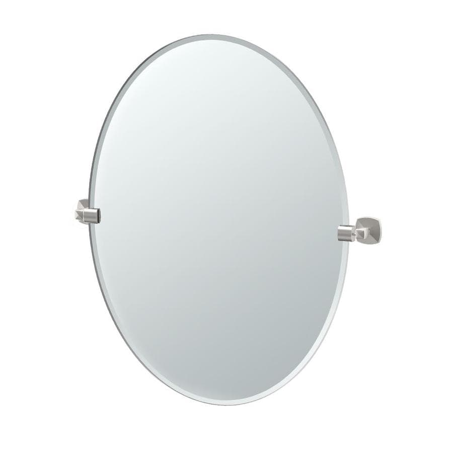 Gatco Jewel 24-in W x 32-in H Oval Tilting Frameless Bathroom Mirror with Satin Nickel Hardware and Beveled Edges