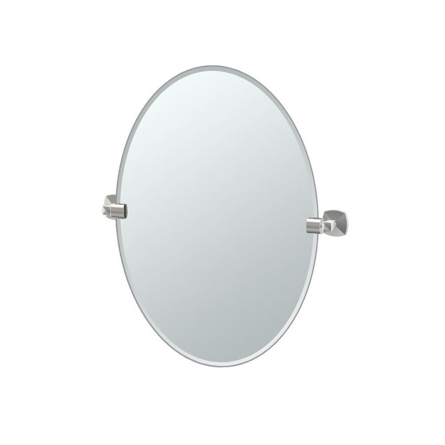 Gatco Jewel 19.5-in W x 26.5-in H Oval Tilting Frameless Bathroom Mirror with Satin Nickel Hardware and Beveled Edges