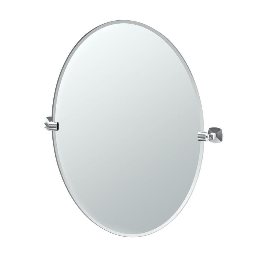 Gatco Jewel 24-in W x 32-in H Oval Tilting Frameless Bathroom Mirror with Chrome Hardware and Beveled Edges