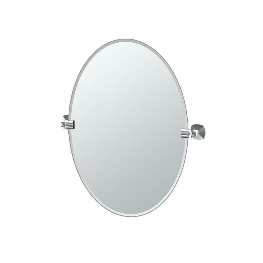 Shop gatco jewel 19 5 in w x 26 5 in h oval tilting - Frameless beveled mirrors for bathroom ...