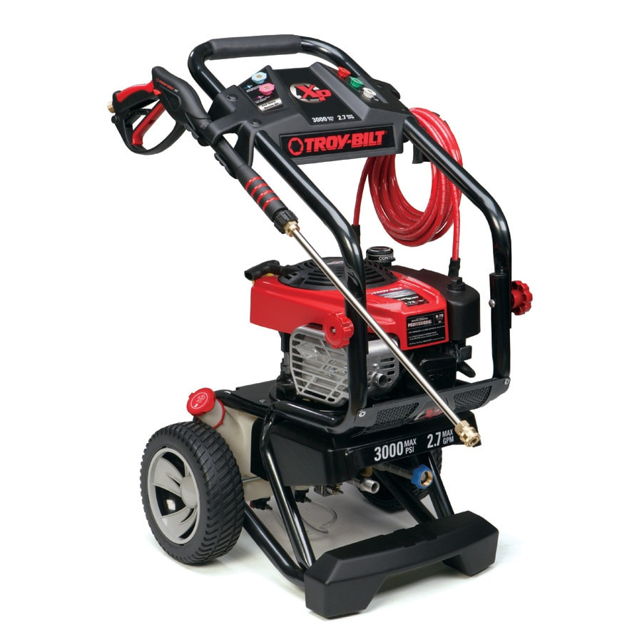 Troy-Bilt's PSI pressure washer is great for cleaning driveways, patios & siding. Featuring a Briggs & Stratton engine, this power washer is durable & reliable.