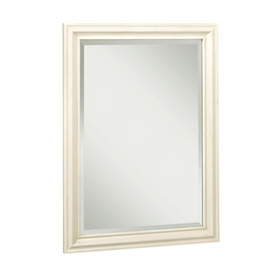 allen + roth Ketterton 24-in W x 33-in H Cream Rectangular Bathroom Mirror