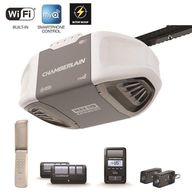 Chamberlain 1 25 Hp Myq Smart Chain Drive Garage Door Opener With Myq And Wi Fi Compatibility And Battery Back Up In The Garage Door Openers Department At Lowes Com