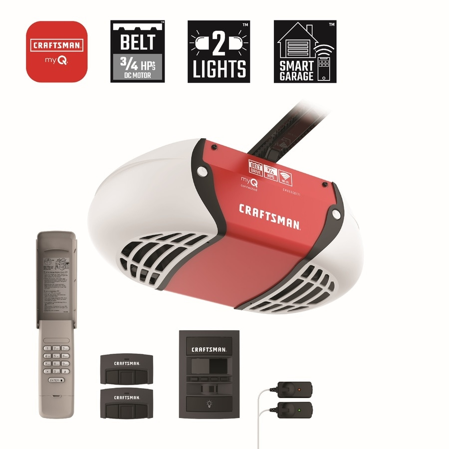 Craftsman 0 75 Hp Myq Smart Belt Drive Garage Door Opener With Myq And Wi Fi Compatibility In The Garage Door Openers Department At Lowes Com