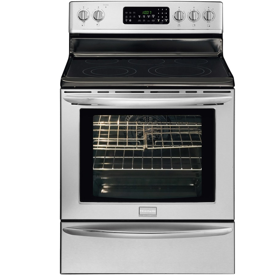 Frigidaire Gallery Smooth Surface Freestanding 5 5.8-cu ft Self-Cleaning Convection Electric Range (Stainless) (Common: 30-in; Actual: 29.88-in)