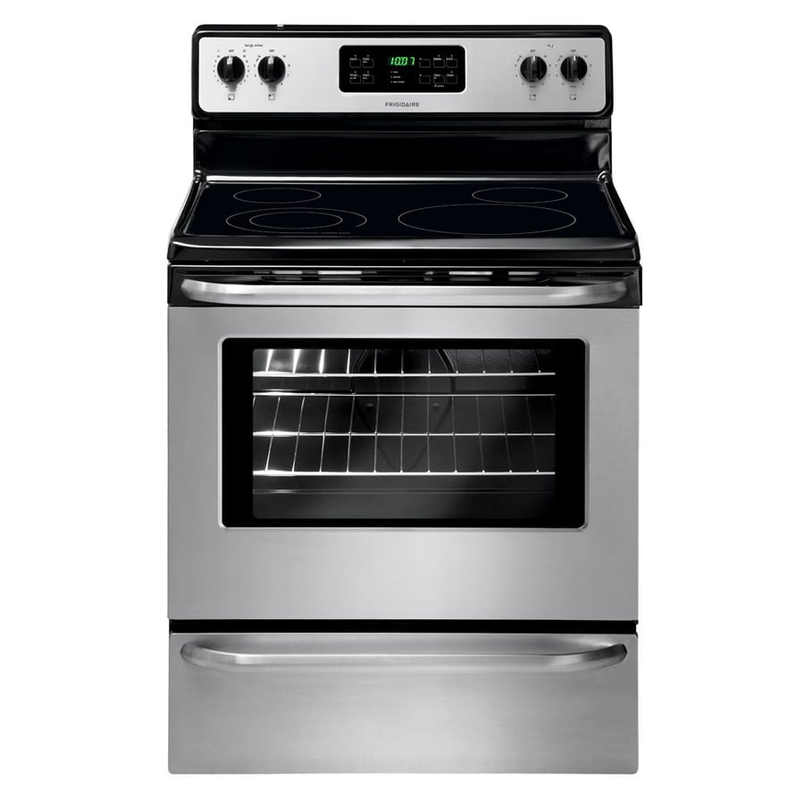Frigidaire Smooth Surface Freestanding 4-Element 5.3-cu ft Self-Cleaning Electric Range (Stainless Steel) (Common: 30-in; Actual: 29.88-in)