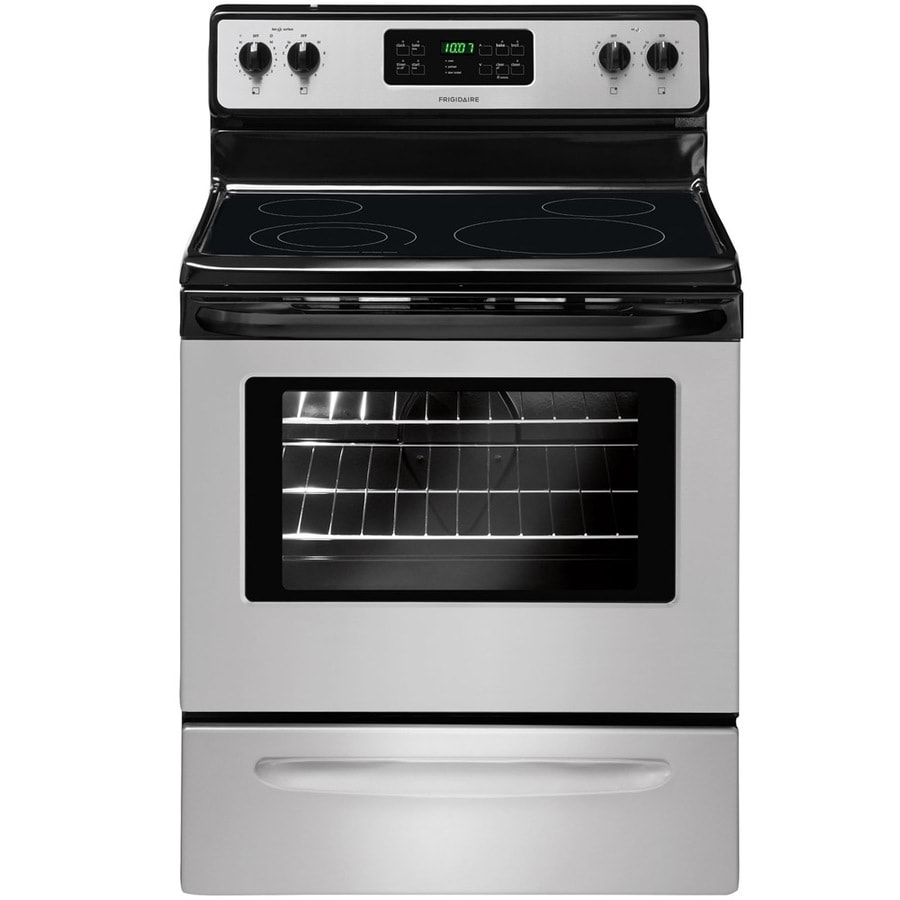 Frigidaire Smooth Surface Freestanding 5.3-cu ft Self-Cleaning Electric Range (Stainless Steel) (Common: 30-in; Actual: 29.78-in)