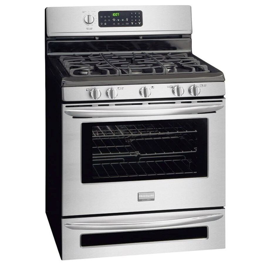 Frigidaire Gallery 30-in 5-Burner 5-cu ft/0.5-cu ft Self-Cleaning Double Oven Convection Gas Range (Stainless Steel)