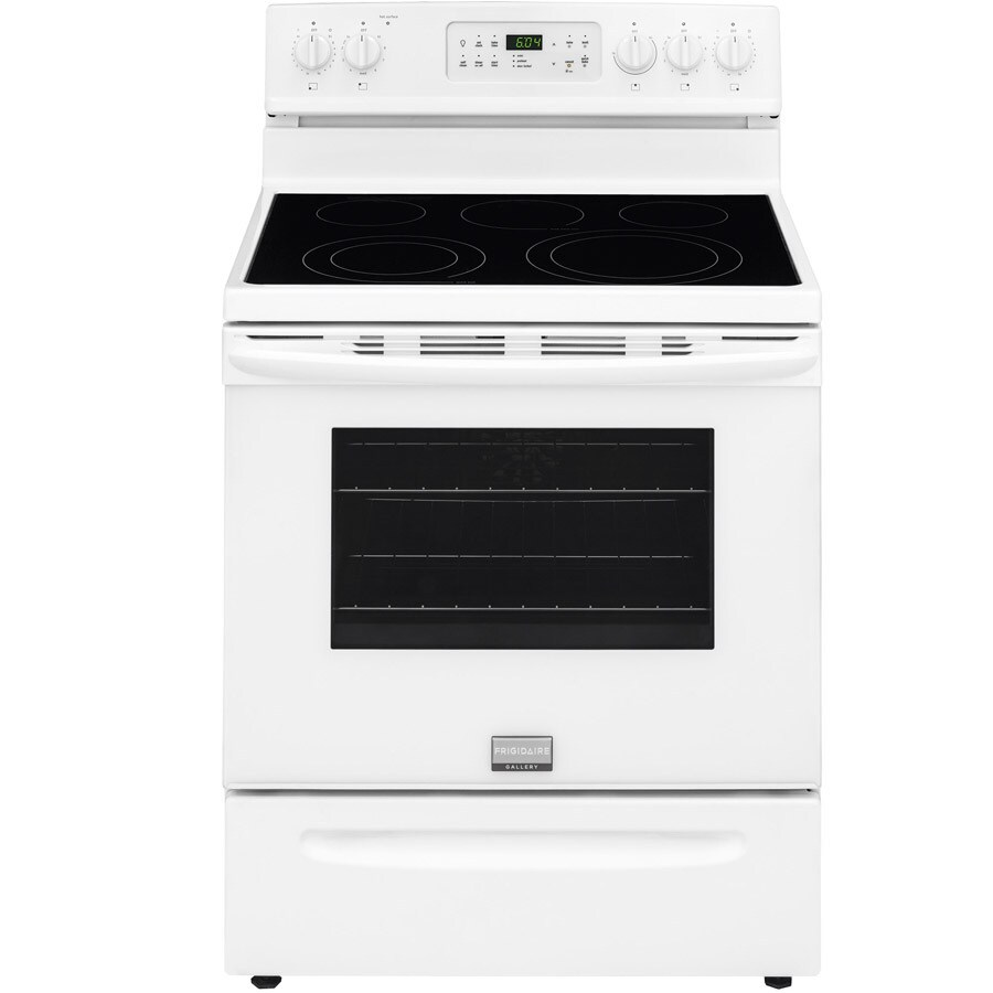 Frigidaire Gallery Smooth Surface Freestanding 5-Element 5.7-cu ft Self-Cleaning Convection Electric Range (White) (Common: 30-in; Actual: 29.87-in)