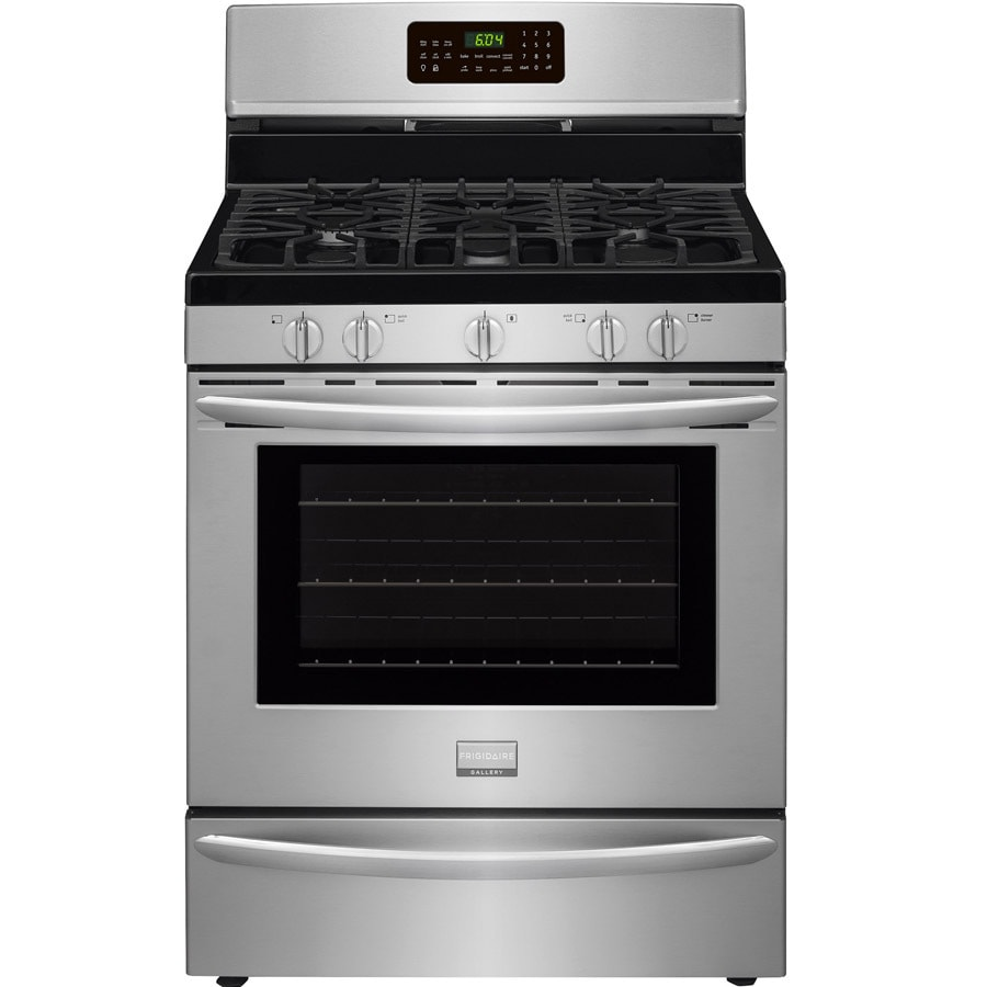 Frigidaire 5-Burner Freestanding 5-cu ft Convection Gas Range (Smudge-Proof Stainless Steel) (Common: 30-in; Actual: 29.875-in)