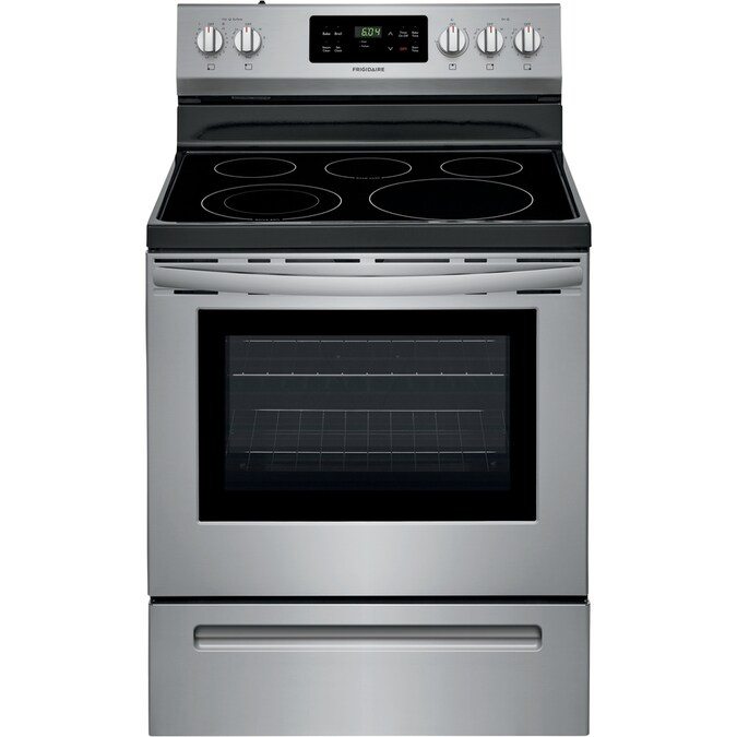 Frigidaire Smooth Surface 5 Elements 5.4-cu ft Steam Cleaning Freestanding Electric Range (EasyCare Stainless Steel) (Common: 30-in; Actual: 29.875-in)