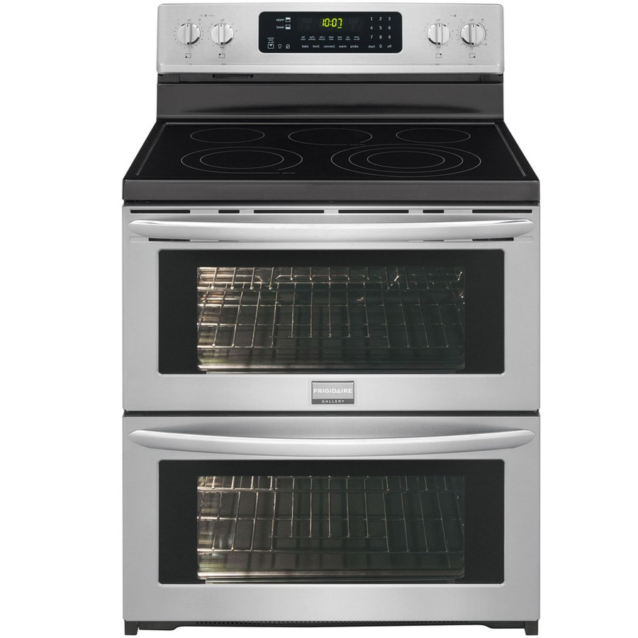 Frigidaire 30-in Smooth Surface 5-Element 3.6-cu ft / 3.6-cu ft Double Oven Single-Fan European Element Electric Range (Smudge-Proof Stainless Steel)