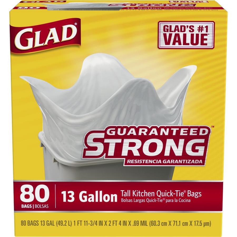 Glad Quick-Tie 80-Count 13-Gallon White Kitchen Trash Bags