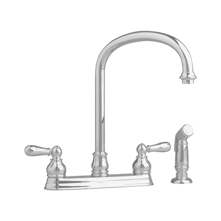 American Standard Hampton Satin Nickel 2-Handle High-Arc Kitchen Faucet with Side Spray