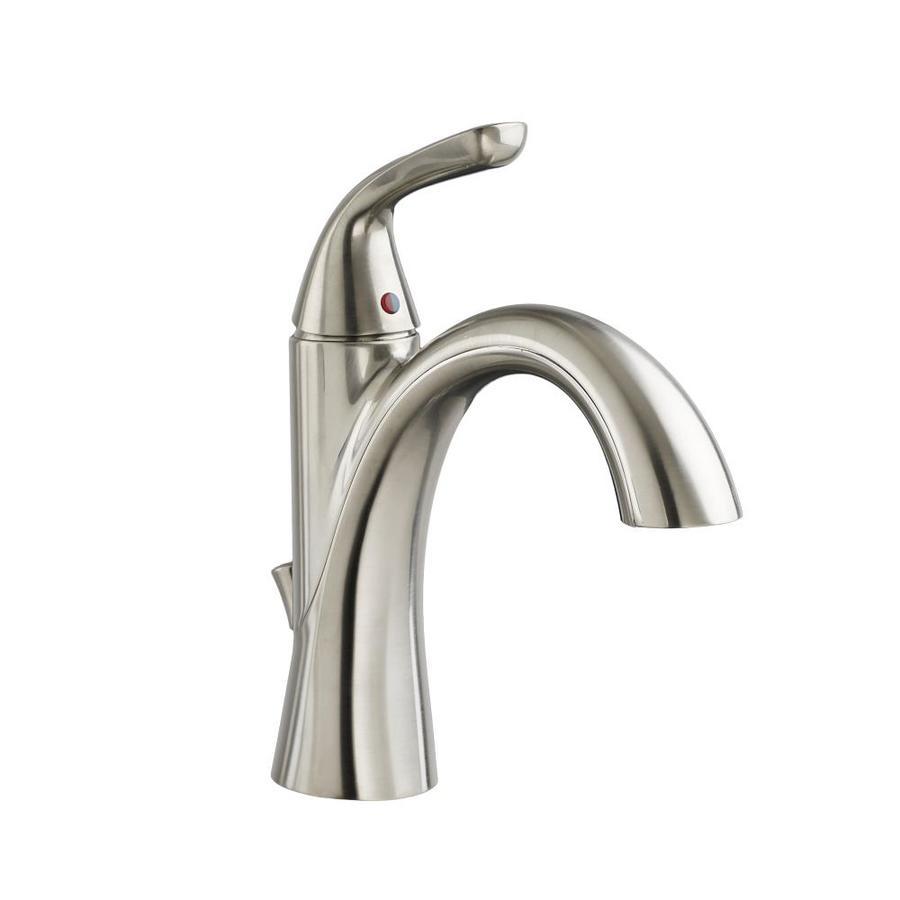 American Standard Fluent Satin Nickel 1-Handle Single Hole WaterSense Bathroom Faucet (Drain Included)