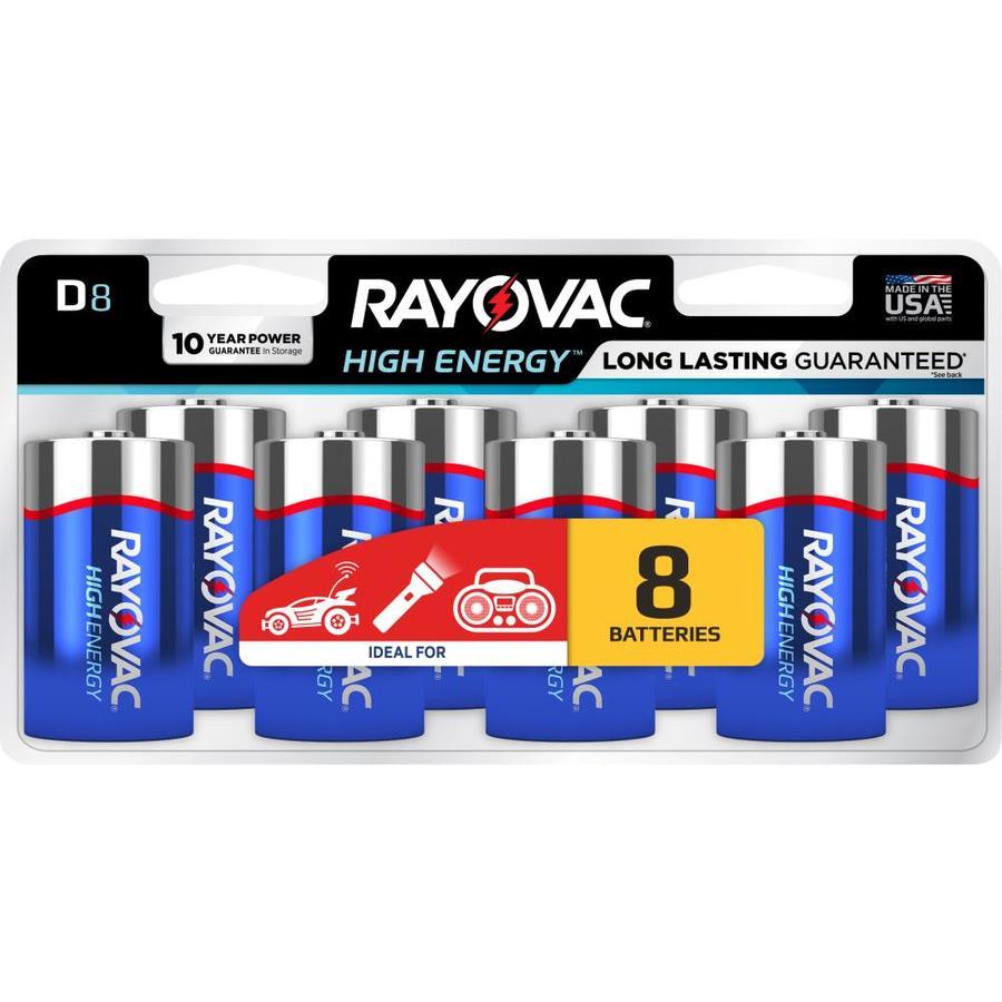 Rayovac 8-Pack D Alkaline Batteries