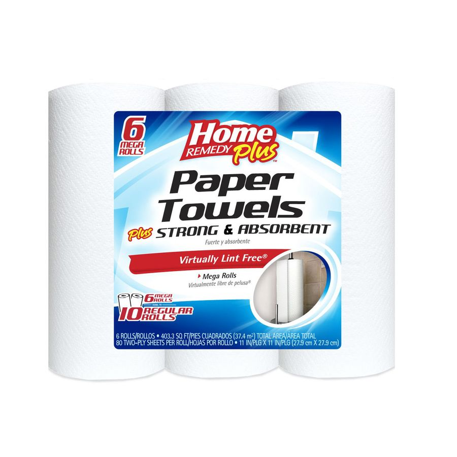 Home Remedy Plus 6-Count Paper Towels