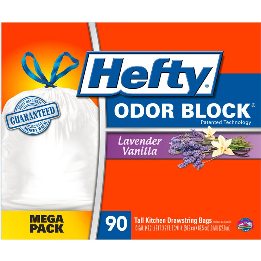 Hefty 90-Count 13-Gallon Lavender Vanilla White Kitchen Trash Bags