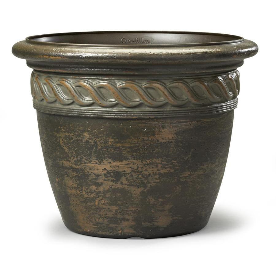 15.71-in x 12.24-in Light Bronze Resin Round Planter