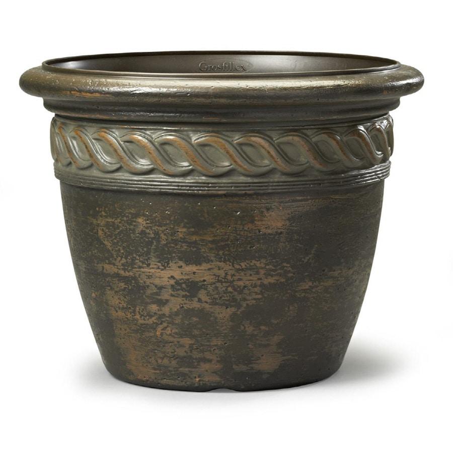 19.57-in x 14.76-in Light Bronze Resin Round Planter
