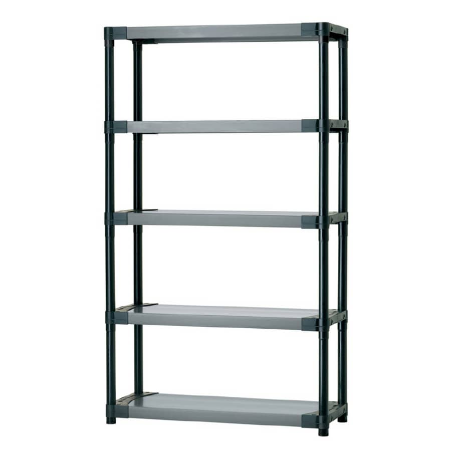 Blue Hawk 70-in H x 42-in W x 16-in D 5-Tier Plastic Freestanding Shelving Unit