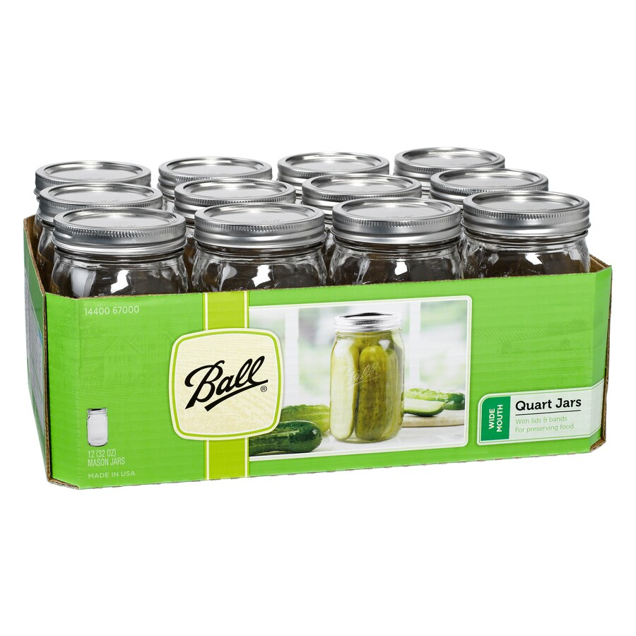 12-Pack 32-oz Glass Wide Mouth Jars with Lids