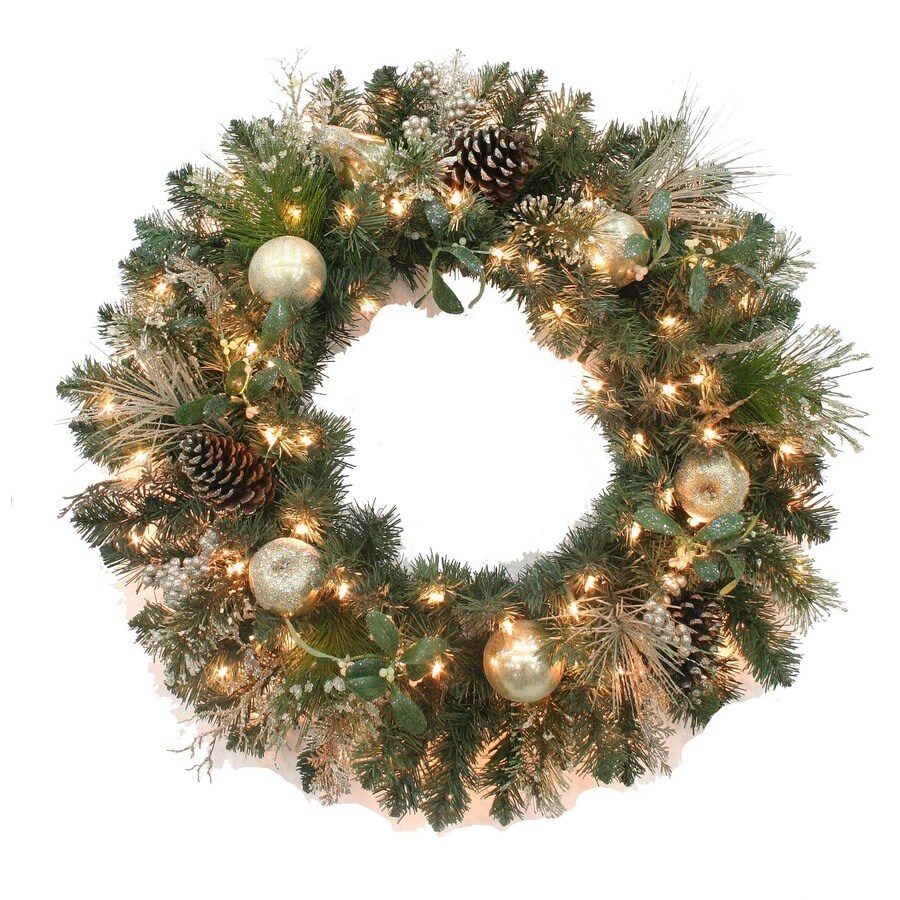 Holiday Living 30-in Indoor/Outdoor Artificial Wreath with 100 Clear Incandescent Lights