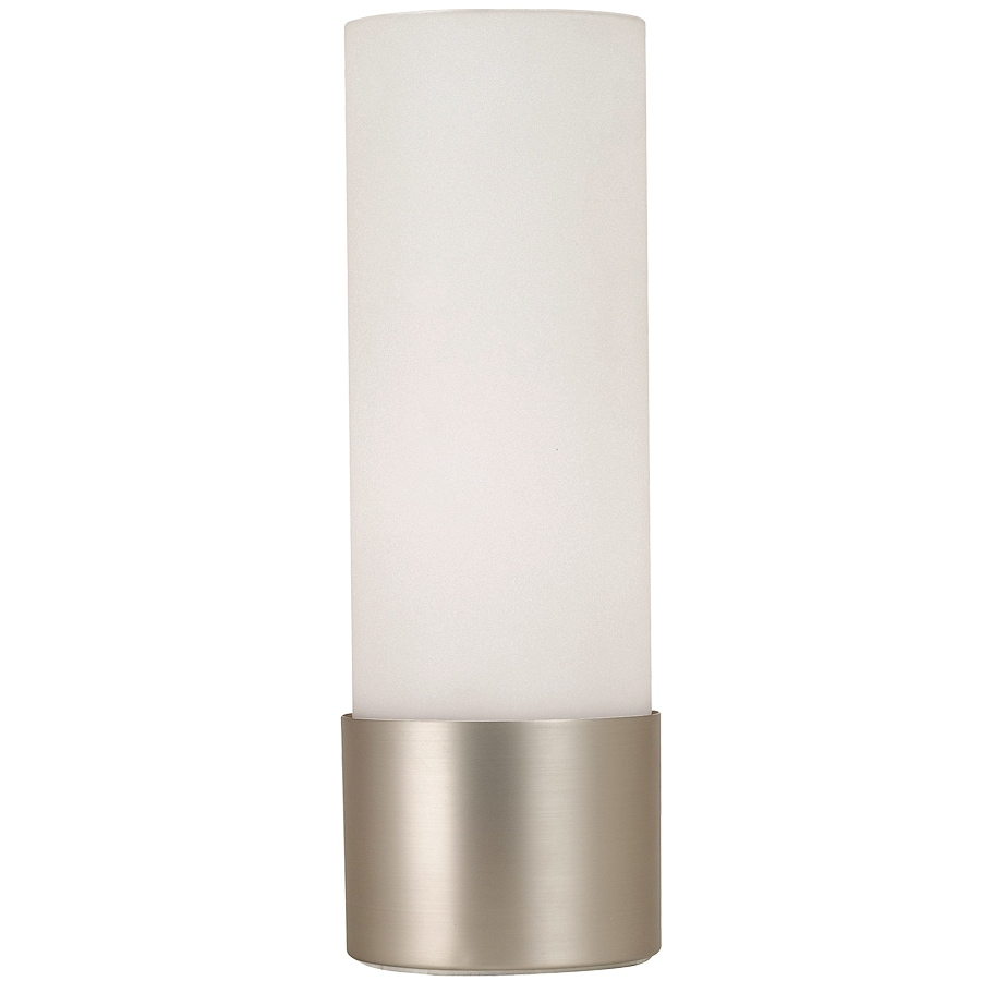 Portfolio 12-in 3-Way Switch Brushed Steel Touch Accent Lamp with Glass Shade