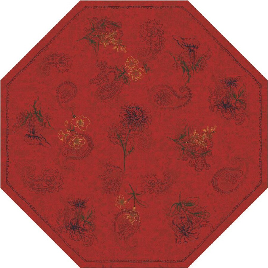Milliken Vintage Octagonal Red Transitional Tufted Area Rug (Common: 8-ft x 8-ft; Actual: 7.58-ft x 7.58-ft)
