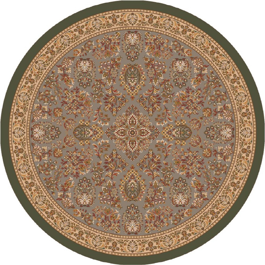 Milliken Halkara Round Green Transitional Tufted Area Rug (Common: 8-ft x 8-ft; Actual: 7.58-ft x 7.58-ft)