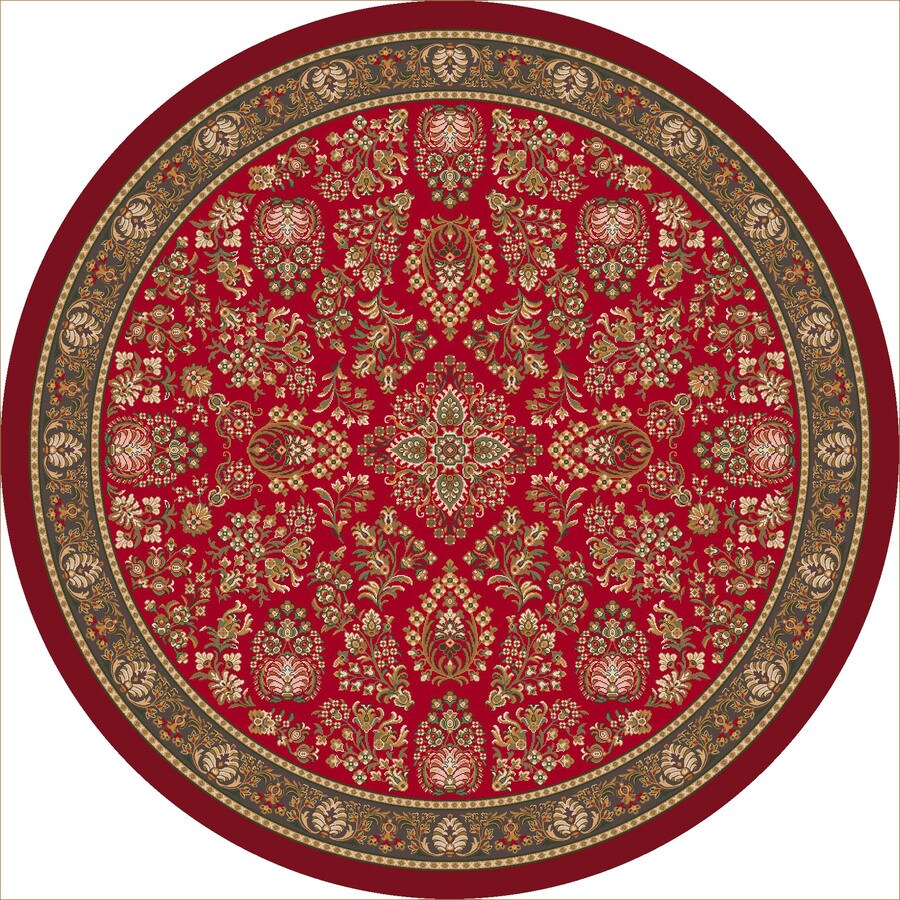 Milliken Halkara Round Red Transitional Tufted Area Rug (Common: 8-ft x 8-ft; Actual: 7.58-ft x 7.58-ft)
