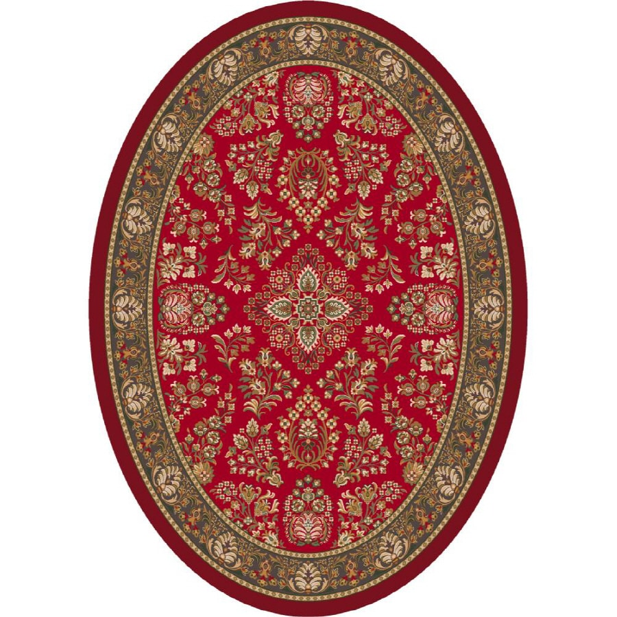Milliken Halkara Oval Red Transitional Tufted Area Rug (Common: 8-ft x 11-ft; Actual: 7.66-ft x 10.75-ft)