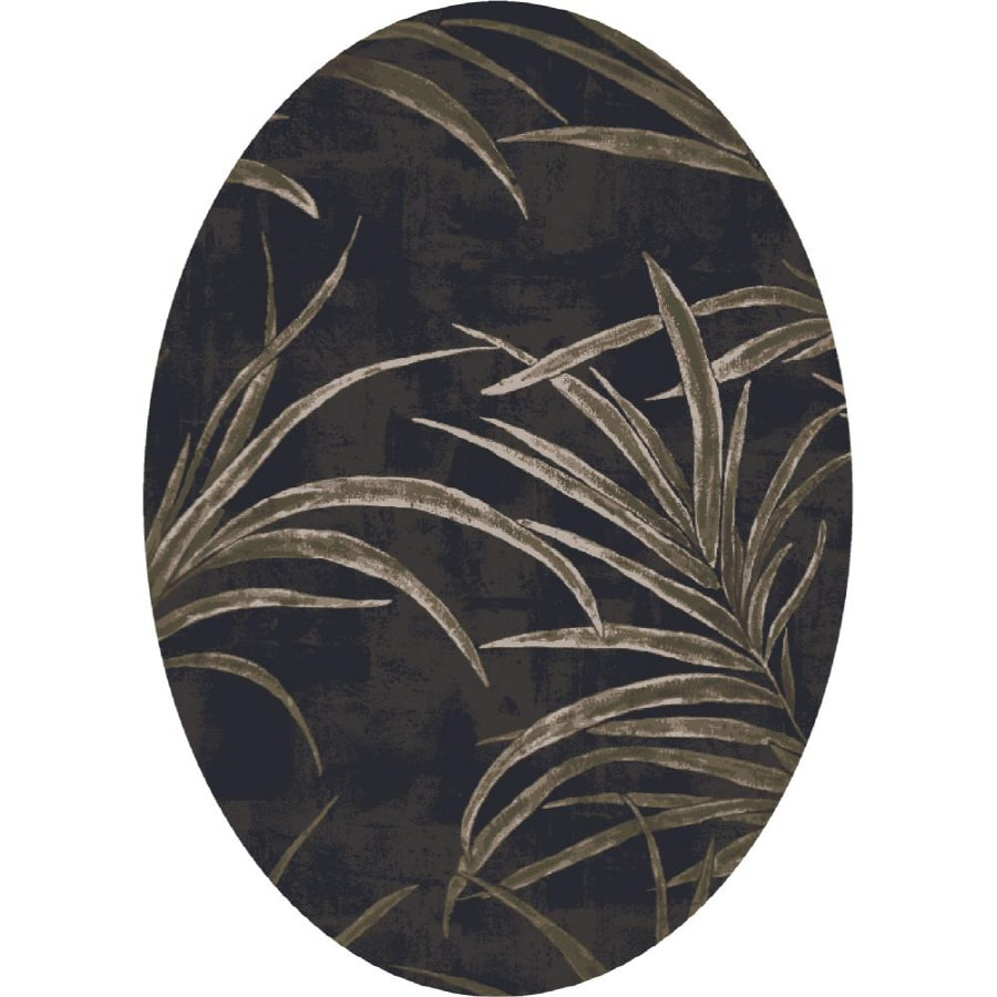 Milliken Rain Forest Oval Black Floral Tufted Area Rug (Common: 8-ft x 10-ft; Actual: 7.66-ft x 10.75-ft)