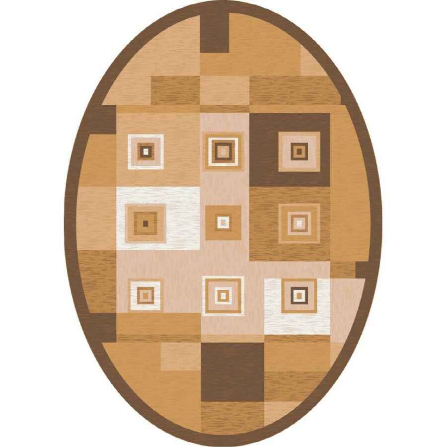 Milliken Bloques Oval Yellow Geometric Tufted Area Rug (Common: 8-ft x 10-ft; Actual: 7.66-ft x 10.75-ft)