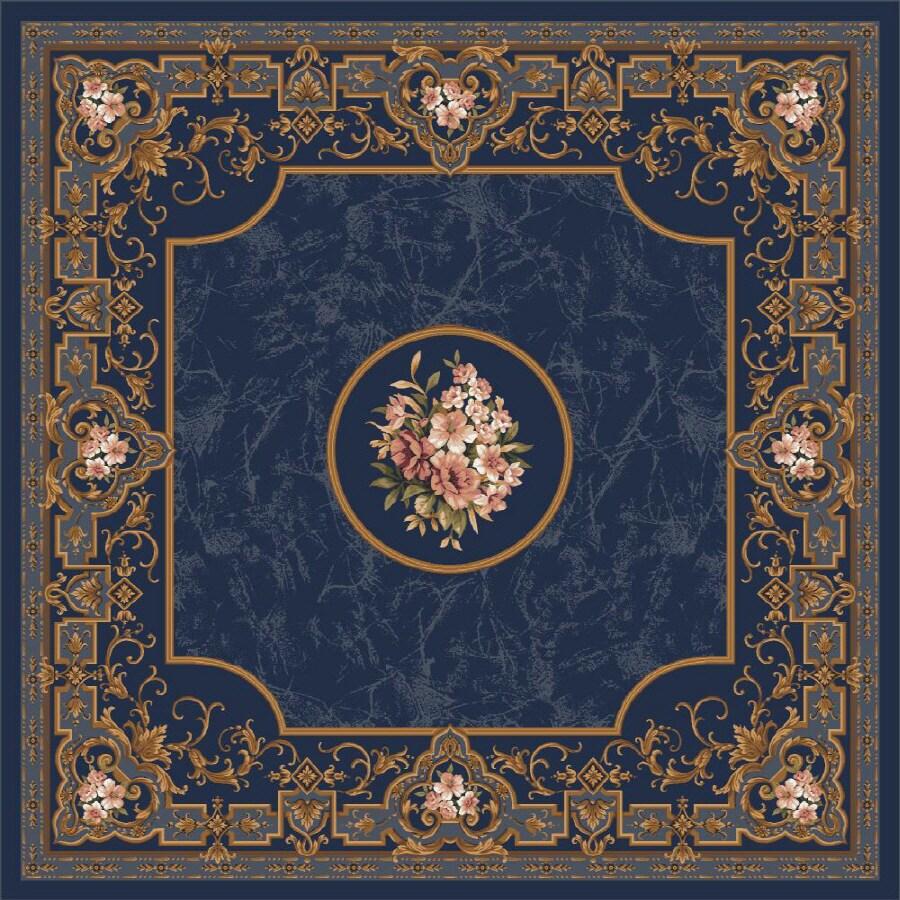 Milliken Montfluer Square Blue Floral Tufted Area Rug (Common: 8-ft x 8-ft; Actual: 7.58-ft x 7.58-ft)