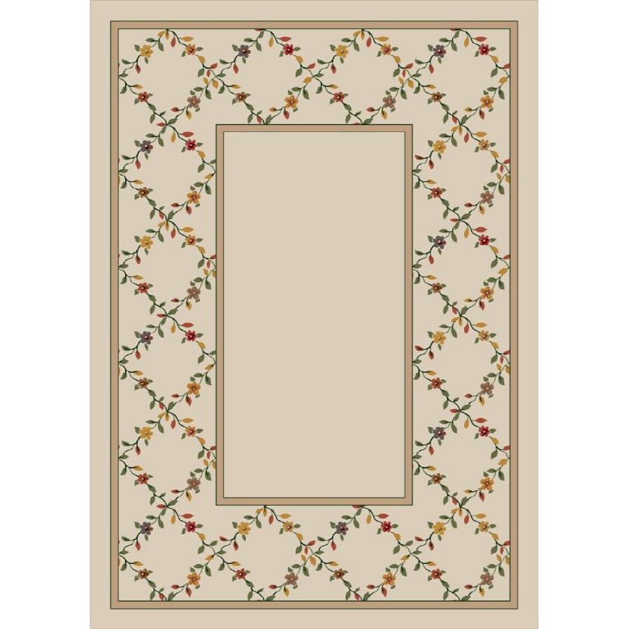 Milliken Spring Trellis Rectangular Cream Floral Tufted Area Rug (Common: 8-ft x 11-ft; Actual: 7.66-ft x 10.75-ft)