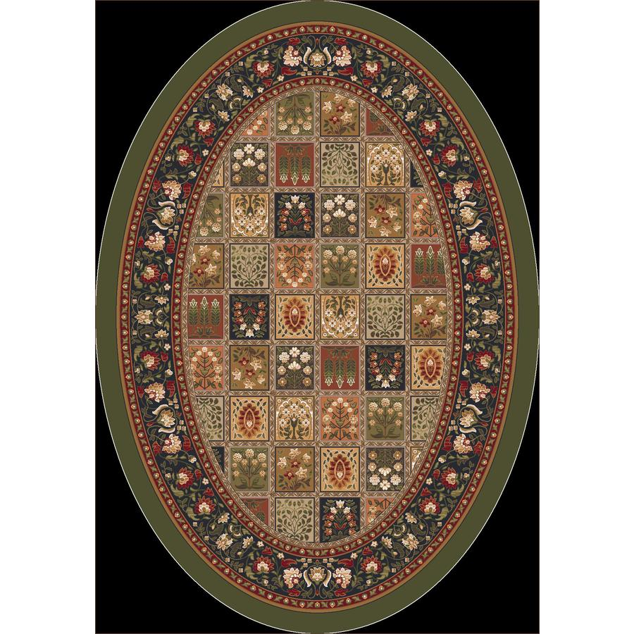 Milliken Pristina Oval Green Transitional Tufted Area Rug (Common: 5-ft x 8-ft; Actual: 5.33-ft x 7.66-ft)